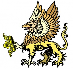 A gold gryphon stetant holding a crown in one set of talons.